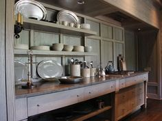 Craftsman lodge kitchen by Ruard Veltman Architecture. Kitchen Butlers Pantry, Open Plan Kitchen, Modern Farmhouse Kitchens, Home Kitchens, Kitchen Items, Kitchen Dining, Dining Area, Palette, Dining Room Walls
