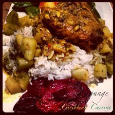 Hurry Curry Chicken*Jasmine Rice*Roasted Beets*Mesculin Salad. Photo & Food by NZINGHA for ZLounge: Nouvelle Caribbean Cuisine