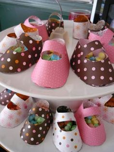 Baby shower favours... booties filled w/ candy