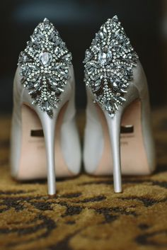 Glamorous silver jewel embellished wedding shoes; Featured Photographer: The Grays Photography