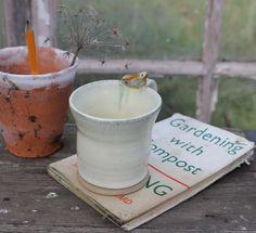 Bird Cup - cream and brown mug, wheel thrown mug, pottery, gift for gardener £18.00