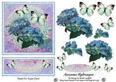 This awesome Hydrangea image has got four layers making a stunning 3D effect when finished. There are two layers for the big butterfly and one layer for the smaller one behind it. A panel for an easel card or an A5 card and a tag for your sentiment  is included.