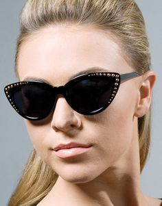 Black Starlet Cat Sunglasses:Get ready for your close up with these starlet cat eye sunglasses! These are all black with bronze colored studs in the corners. UV 400 $10.99