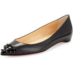 Christian Louboutin Geo Spike-Toe Red Sole Flat, Black