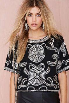 Swirl Talk Sequin Top - Clothes