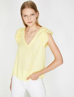 Yellow Women Frilled Blouse 8YAK68582PW151 | Koton Frill Blouse, Yellow Blouse, Online Sales, No Frills, Tommy Hilfiger, Breast, Swimsuits, Lingerie, Gender Female
