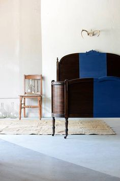 bed frame, blue stripe