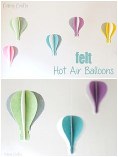 Make these adorable felt hot air balloons to hang in a nursery or child's room. Dollar Store Crafts, Diy Crafts To Sell, Nifty Crafts, Mason Jar Crafts, Mason Jar Diy, Construction Paper Crafts, Balloon Crafts, Mobiles, Popular Crafts