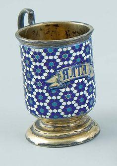 1310: Russian Silver Champleve Enamel Cup Jalta : Lot 1310