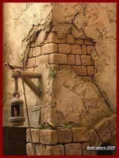 Pin by Lisa Franks on Fairy posts Hand Kunst, Styrofoam Art, Concrete Art, Christmas Nativity, Miniature Houses, Small World, Backdrops, Scenery, Stone