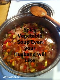 Recipe: Spicy Vegetable Soup- Weight Watchers, Paleo and friendly Skinny Recipes, Ww Recipes, Crockpot Recipes, Soup Recipes, Cooking Recipes, Healthy Recipes, Healthy Meals, Dinner Recipes, Healthy Soup