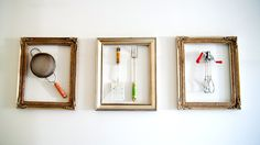Turn old kitchen tools (maybe Grandma's?) into kitchen wall art. My Chic Life has the how-tos