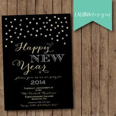 New Year's Eve Party Invitation, New Years Eve Party, New Years Invite, DIY Printable