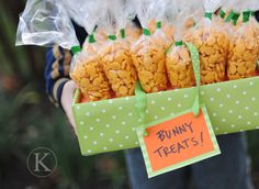 Cute snack for kids - goldfish crackers packaged to look like carrots.