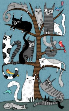'CAT TREE' Metal Print by Terry Runyan - illustrations that inspire me - Cats Cool Cats, I Love Cats, Crazy Cats, Cat Quilt, Here Kitty Kitty, Kitty Cats, Hello Kitty, Cats Bus, Sleepy Kitty