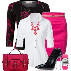 """""""Black and Pink Work Style"""" by nemommy81 on Polyvore"""