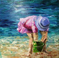 Beach Girl & Bucket acrylic on canvas 76cmx76cm Saltair Art & Design: Photo