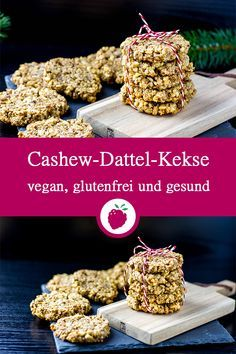 Weihnachtliche Cashew-Dattel-Kekse Christmas cashew date biscuits without sugar. Healthy, vegan, gluten-free and juicy delicious. Healthy Cookie Recipes, Healthy Cookies, Healthy Desserts, Healthy Christmas Cookies, Paleo Dessert, Date Cookies, Breakfast Biscuits, Paleo Breakfast, Vegans
