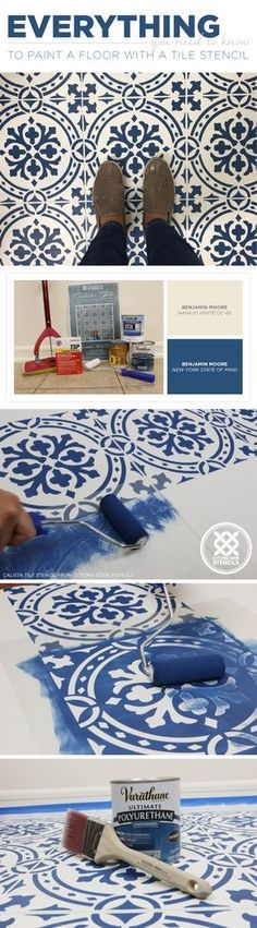 DIY stenciled and painted tile floor makeover ideas on a budget using easy and reusable tile stencil patterns from Cutting Edge Stencils Painting Tile Floors, Painted Floors, Diy Painting, Paint Tiles, Faux Painting, Painting Linoleum, Painting Concrete, Azulejos Diy, Cutting Edge Stencils