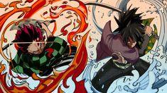 This HD wallpaper is about Anime, Demon Slayer: Kimetsu no Yaiba, Giyuu Tomioka, Tanjirou Kamado, Original wallpaper dimensions is file size is All Anime, Manga Anime, Anime Art, Rwby Anime, Demon Slayer, Slayer Anime, Katana, Daily Manga, Manga News