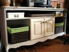 My inspiration for our future living room media console!  Just have to find the right dresser to repurpose.