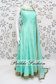 Exclusive Full Flair Cyan Blue Colored Silk Outfit with Elegant Top Work and Elegant Side Brocade Print. In real work and Print looks so Nice and elegant. Indian Gowns Dresses, Indian Fashion Dresses, Indian Designer Outfits, Girls Fashion Clothes, Indian Outfits, Clothes For Women, Brocade Dresses, Woman Clothing, Ethnic Fashion