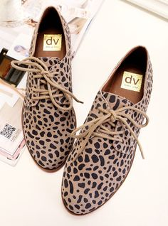 spring and autumn dv leopard print genuine leather flat lacing shoe women's oxford shoes