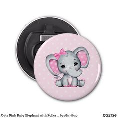 Cute Pink Baby Elephant with Polka Dot Ears Bottle Opener Baby Elephant, Elephant Gifts, Cute Pink, Party Hats, Ears, Art Pieces, Polka Dots, Bottle Openers, Fancy