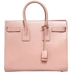 SAINT LAURENT Small Sac De Jour Leather Top Handle Bag ($2,750) ❤ liked on Polyvore featuring bags, handbags, yves saint laurent purses, pink purse, genuine leather handbags, pink leather handbag and genuine leather purse