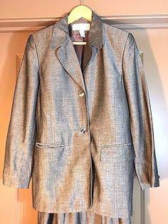 Jones New York Gray Linen Blend 2-Button Blazer Jacket Womens 10 M #JonesNewYork #Blazer