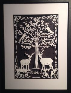 A stunning bespoke family tree papercut that can be personalised to include four names or up to six can be accommodated for an additional fee Oak Color, Bee Design, Silhouette Portrait, Papercutting, Box Frames, Paper Background, Bird Art, Quilling, Bespoke