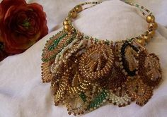 """Autumn's In The Air"" Irsh Crochet Beaded Necklace-sandfibers.blogspot.com"