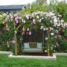 Garden Arbor Swing With Flowers , Garden Arbor Swing In Garden And Lawn Category