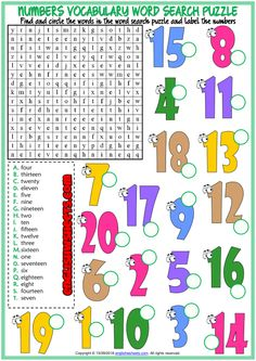 Discover recipes, home ideas, style inspiration and other ideas to try. Kindergarten Math Worksheets, Number Worksheets, Vocabulary Worksheets, School Worksheets, Vocabulary Words, English Vocabulary, Math Activities, Word Puzzles For Kids, Word Search Puzzles