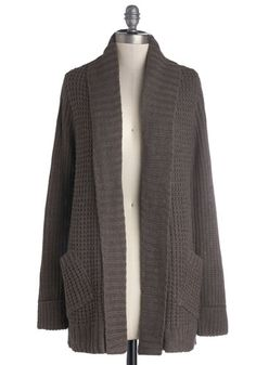 Cozy Companion Cardigan - Brown, Solid, Long Sleeve, Better, Knit, Pockets, Casual