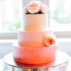 A stunning ombre wedding cake  one of the most beautiful Charleston weddings we've seen all year... {Riverland Studios}