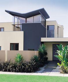 Exterior Colour Scheme featuring Aeronautic, Hog Bristle and Warm Neutral Exterior House Colors Combinations, Exterior Paint Schemes, House Color Schemes, Exterior Paint Colors, Paint Colors For Home, Colour Schemes, Colour Combinations, Home Building Design, House Design