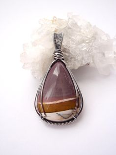 Purple Mookaite Pendant ~ Hand-cut Natural Australian Stone Talisman ~ Eco Friendly Recycled Sterling Silver ~ Purple Caramel White Jasper by KarmicStar on Etsy