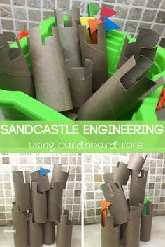 Sandcastle Engineering using toilet paper rolls - this is such a fun, clever and unique diy building activity. I love how this recycles / upcycles to reuse a common household item to make your own toy. Perfect for summer busy bags Ocean Activities, Enrichment Activities, Summer Activities For Kids, Toddler Activities, Toddler Themes, Motor Activities, Educational Activities, Beach Theme Preschool, Preschool Activities