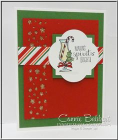 Making Spirits Bright, Confetti Stars Punch, Cocktail card, Stampin' Up!, #stampinup, Nordic Noel DSP, Connie Babbert, www.inkspiredtreasures.com