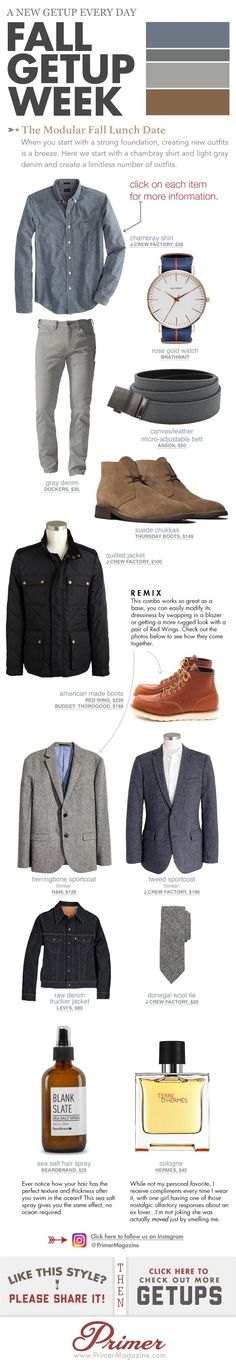 Fall Getup Week: The Modular Fall Lunch Date + 5 Variations! Fall Getup Week: The Modular Fall Lunch Date + 5 Variations! Mode Outfits, Casual Outfits, Fashion Outfits, Sharp Dressed Man, Well Dressed, Stylish Men, Men Casual, Mens Fashion Blog, Fashion Tips