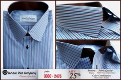 """""""Exude your confidence and individuality through patterns, prints, colors and accessories!""""  Our Designer has recently design blue, white and brown stripes spade collar custom dress shirts with 19 Collar Size. You can order shirt for any body or collar size with Lahore Shirt Company.  For ordering inbox us your contact details or Reach us @ (042) 35844470  #lsc   #customshirts   #clothing   #fashion   #dressguide"""