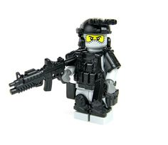 Gray Army Special Forces Heavy Assault Commando with Guns Made With Real LEGO(R) Mini-Figure Parts