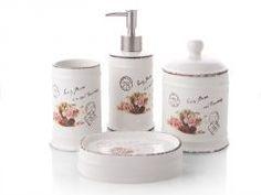 Biev Vintage Rose 4'lü Porselen Banyo Seti