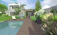 zahrada s bazénem a krytím posezením / garden with swimming pool and covered seating area