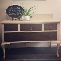 Vintage dresser turned sideboard in Botanics chalk paint 'French beige' Vintage Dressers, Great Love, Chalk Paint, Sideboard, Catering, I Shop, Kitten, Beige, French