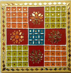 Ideas Painting Ideas Pottery Wall Colors For 2019 Clay Wall Art, Clay Art, Worli Painting, Rajasthani Art, Mirror Crafts, Art Deco Mirror, Art Corner, Indian Art Paintings, Mural Art
