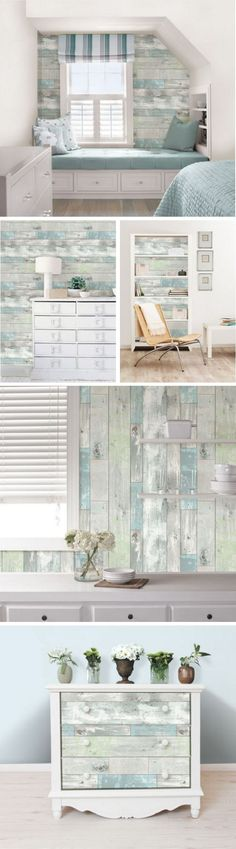 Create your own rustic haven with this chic peel and stick wallpaper. Giving walls the look of weathered wood with hints of soft pale color, this authentic looking design is not only beautiful but so