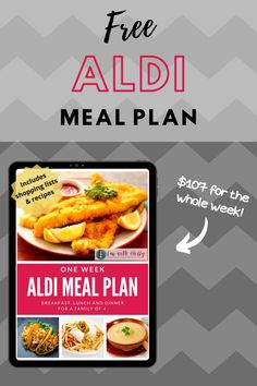 Take a break from your meal planning process and snag our FREE 1 week Aldi Meal Plan! It includes breakfast, lunch, and dinner for a family of 4! Aldi Meal Plan, Easy Meal Plans, Easy Meals, Low Budget Meals, Printable Menu, Dinner Options, Living A Healthy Life, Fun Activities For Kids, Working Moms