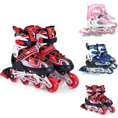 New Inline Skates Adult Kids Adjustable Flashing Rollerblade Sports Equipment